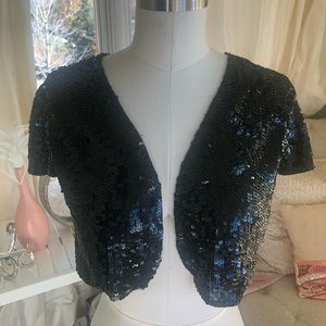 Betsey Johnson Black Sparkly Sequined Shrug 0/S